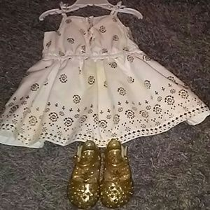 Other - Cute little Gold &White dress and sandals w/h bloo